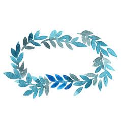 Fern or seaweed marine blue color wreath frame vector