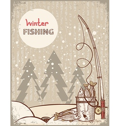 Fishing in Christmas nightVintage winter image vector