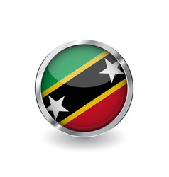 flag of saint kitts and nevis button with metal vector image