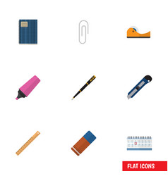 Flat icon equipment set of copybook rubber vector