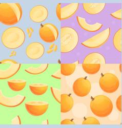Fresh melon pattern set cartoon style vector