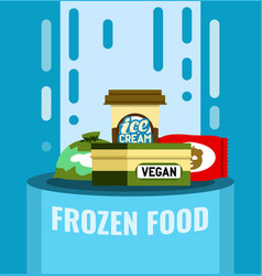 Frozen food flat stile chilled products vector