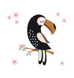 funny toucan on white background cute animals vector image