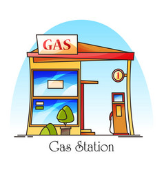 Gas station with fuel pumppetrol cartoon building vector