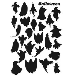 Ghosts silhouette icons halloween party holiday vector