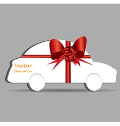 Gift wrapped car vector