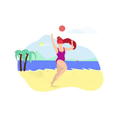 Ginger girl playing with ball on sea side beach vector