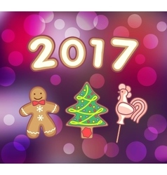 Gingerbread man christmas tree and rooster vector