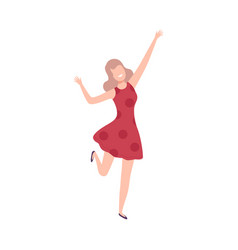 Girl in red dress with raising hands female vector