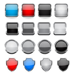 Glass buttons with metal frame set vector