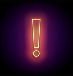 Glow exclamation mark attention warning sign vector