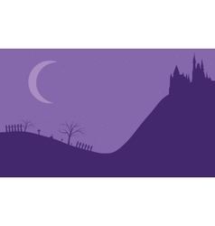 Halloween castle on the hills vector image