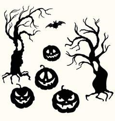 Halloween pumpkin lantern and tree stencil vector