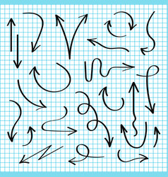 hand drawn arrows set black sketch arrows in vector image