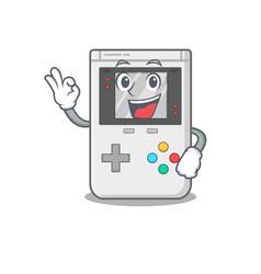 Handheld game scroll mascot design making an okay vector