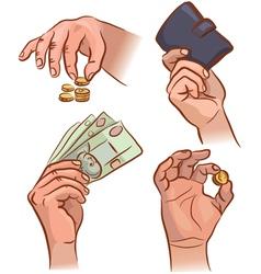 Hands with money vector