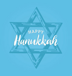 happy hanukkah hand lettering star of david vector image
