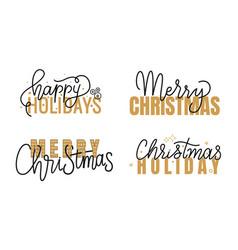 Happy holidays merry christmas handwritten doodle vector