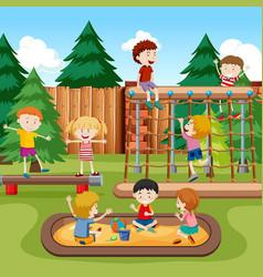 happy kids playground scene vector image