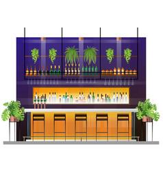 Interior scene modern pub with bar counter vector