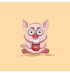Isolated emoji character cartoon pig nervous with vector