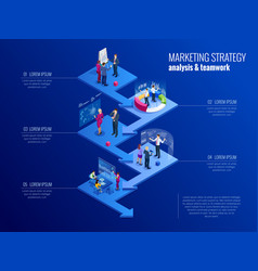 Isometric concept of analytics strategy vector