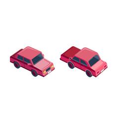 isometric set red sedan car vector image