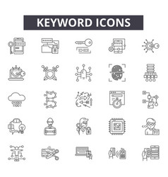 Keyword line icons signs set outline vector