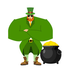 Leprechaun security bodyguard dwarf with red vector