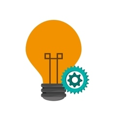 Lightbulb and gears icon vector