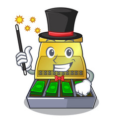 Magician cartoon cash register with a money drawer vector