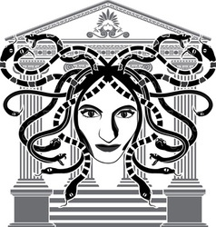 Medusa gorgona temple vector