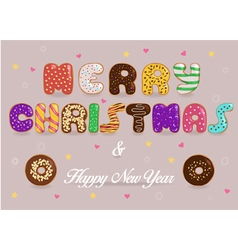 Merry Christmas and Happy New Year Donuts font vector image