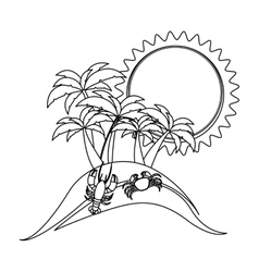 Monochrome contour with beach with crab and vector