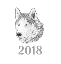 New year 2018 congratulation card husky dog vector