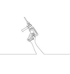 One single line drawing of man holding electric vector