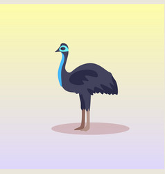 Ostrich or emu icon cartoon endangered wild animal vector