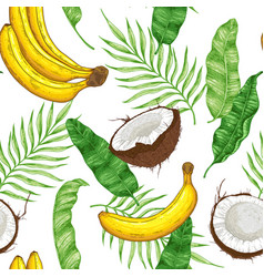 pattern with bananas coconuts and green leaves vector image