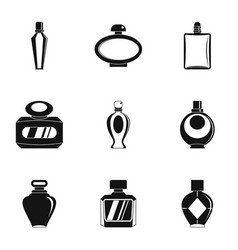 Perfume bottle icon set simple style vector