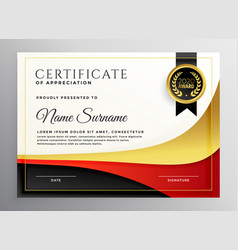 Red and gold business certificate template vector