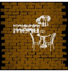 restaurant menu template on a brick wall uno vector image