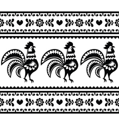 Seamless Polish monochrome folk art pattern vector image
