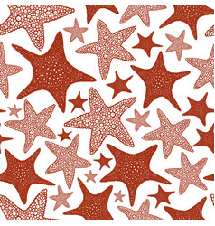 seastars seamless pattern hand drawn marine vector image