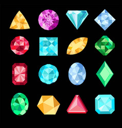 Set fantasy jewelry gems stone for game vector