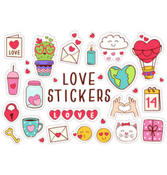 Set isolated love stickers part 1 vector