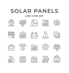 Set line icons solar panels vector