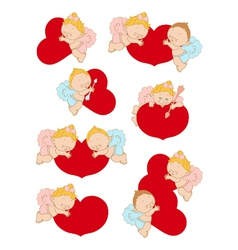Set with cupids for Valentines Day and weddings vector image