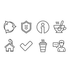 Shield recycle and tick icons takeaway tea cup vector