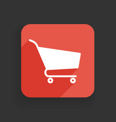 shopping cart icon flat design with long shadows vector image