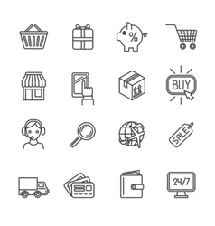 Shopping e-commerce icons set flat outline vector image